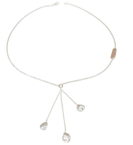 Freshwater Pearl Drops Silver Necklace