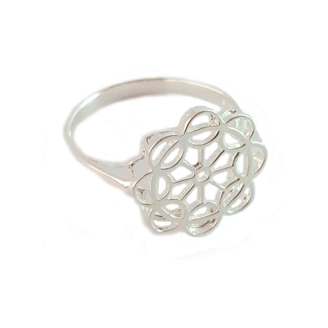 Geometric Patterned Silver Ring