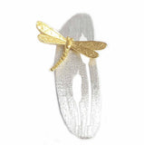 Gold Dragonfly on Silver Leaf Pendant