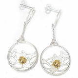 Gold Ladybug on Silver Leaf Earrings