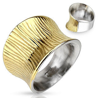 Grooved Two Tone Stainless Steel Ring