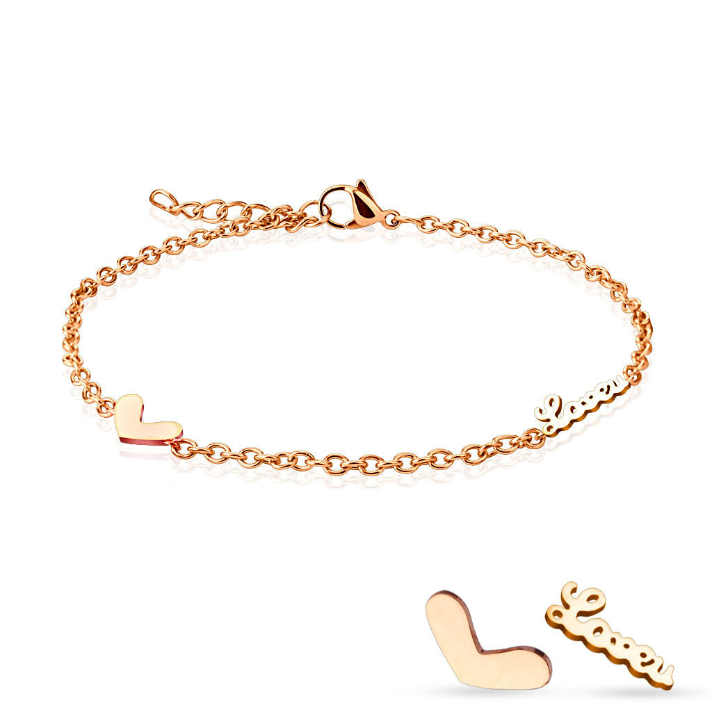 Rose Gold Heart & Love Stainless Steel Anklet/Bracelet