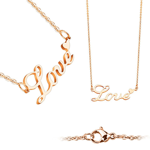 Rose Gold Love Letters Stainless Steel Necklace