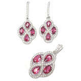 Ruby Clover CZ Jewellery Set