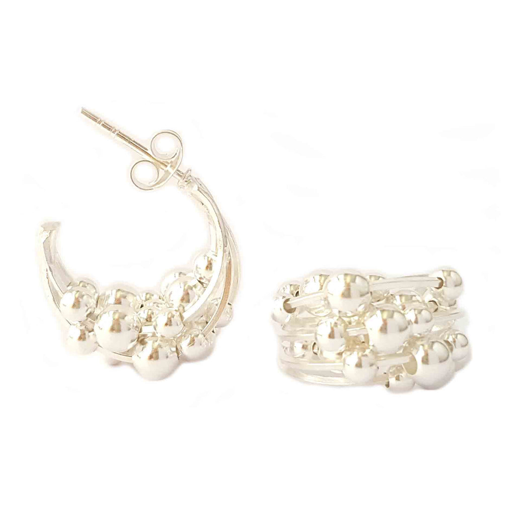 Silver Beads Loop Earrings