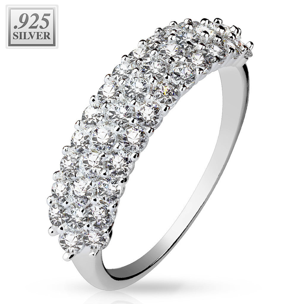 Triple Lined CZ Silver Ring