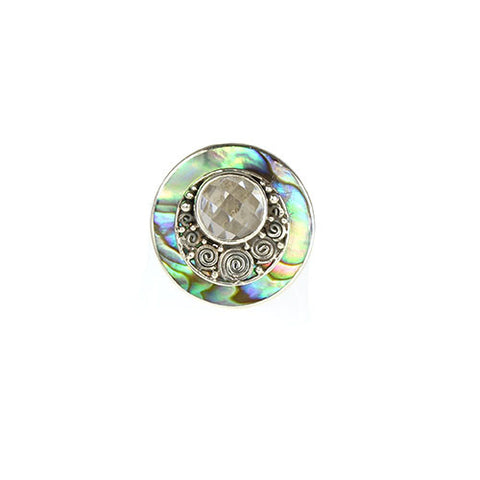 Abalone & CZ Adjustable Ring - Haggled Jewellery - 1