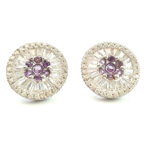 Amethyst & CZ Round Earrings
