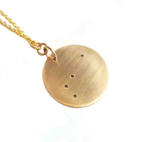 14K Gold Zodiac Necklace - Aries