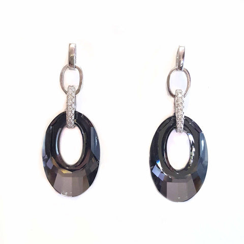 Silver Midnight O Earrings With Swarovski® Crystals - Haggled Jewellery