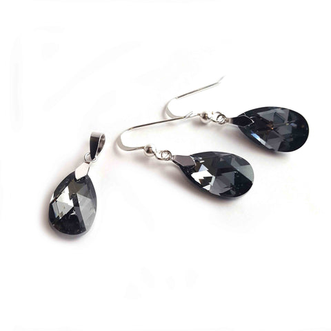 Silver Night Set with Swarovski® Crystals - Haggled Jewellery - 1