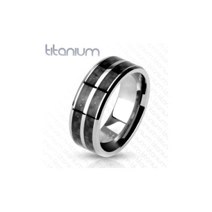 Titanium & Black Carbon Ring - Haggled Jewellery