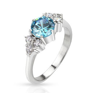 Blue CZ Prong Steel  Ring - Haggled Jewellery