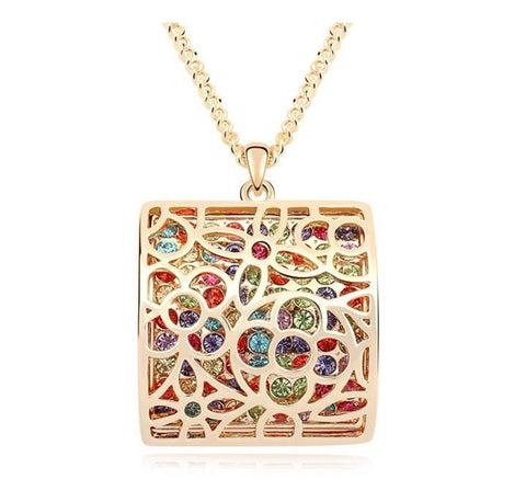 Box Multicolour Czech Crystal Necklace - Haggled Jewellery - 1