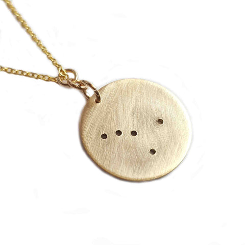 14K Gold Zodiac Necklace - Cancer