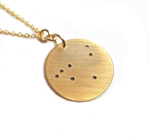 14K Gold Zodiac Necklace - Capricorn