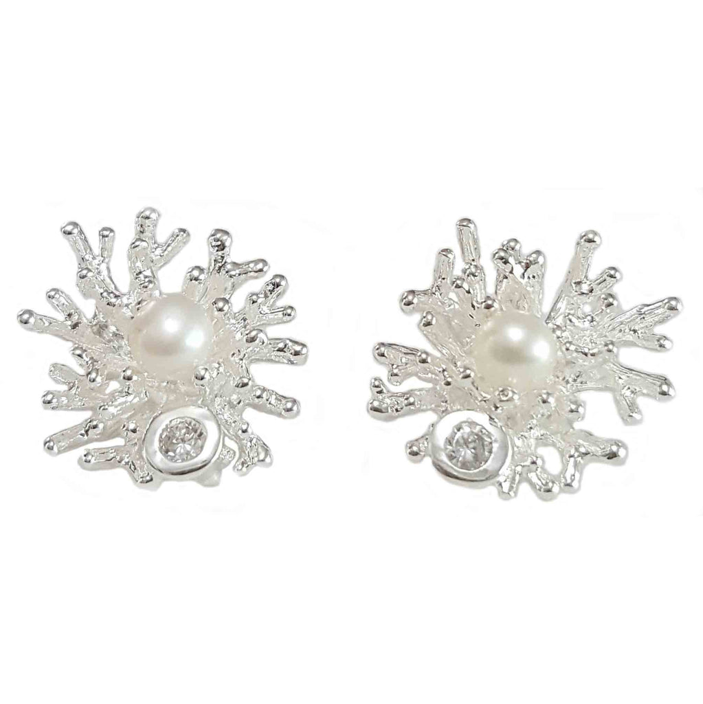 Silver Pearl Coral Studs