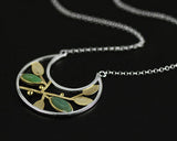 Silver Crescent & Leaf Necklace