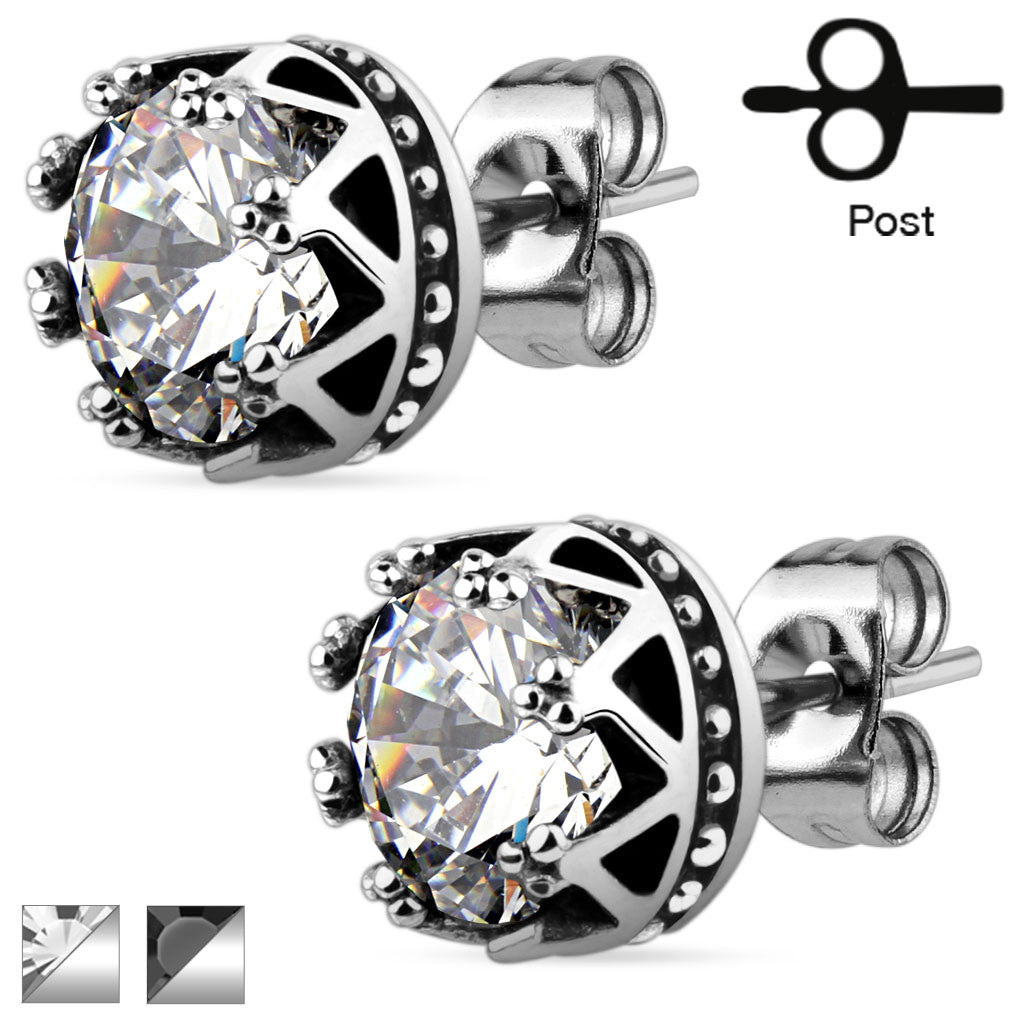 Crown CZ Steel Studs - Haggled Jewellery