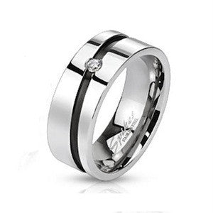 Stainless Steel Black Stripe CZ Ring - Haggled Jewellery
