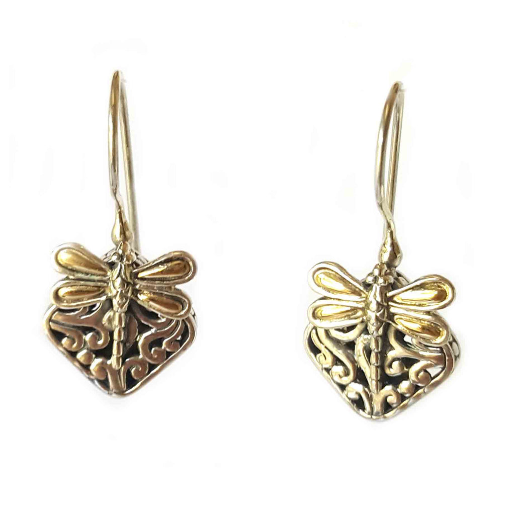 Silver & 18k Gold Winged Dragonfly Earrings