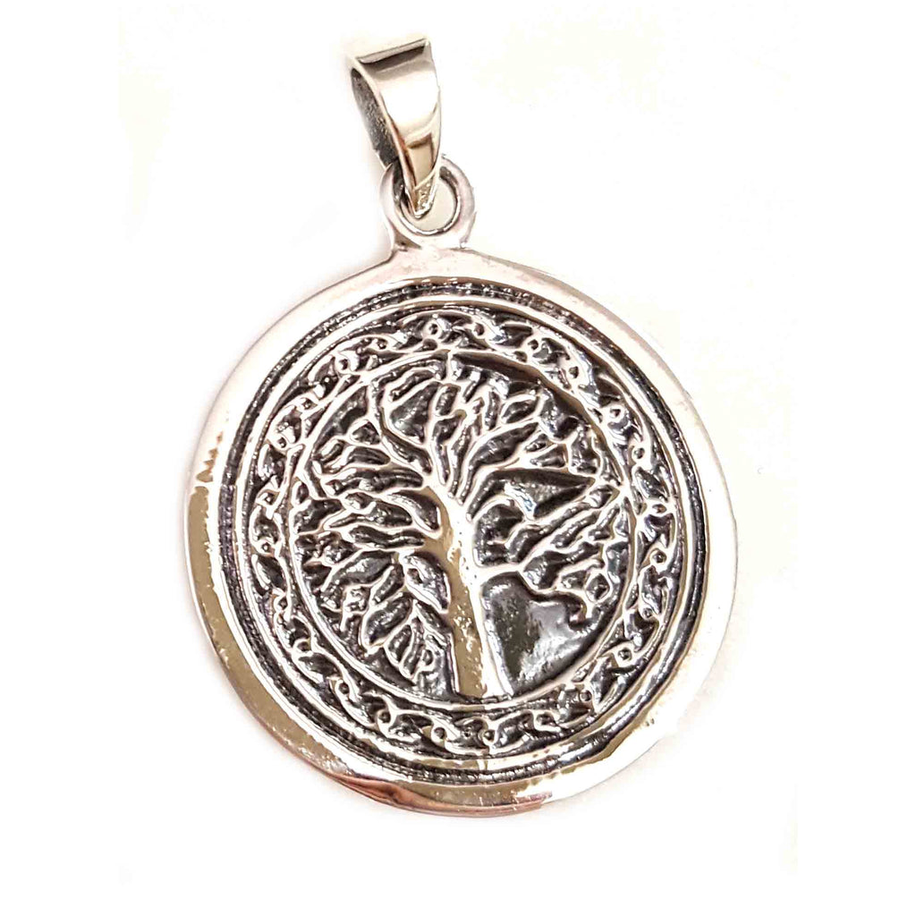 Sterling Silver Etched Tree Of Life Pendant