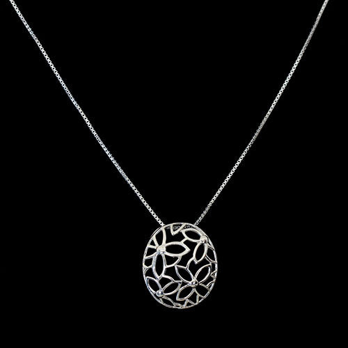 Flower Outline Pendant - Haggled Jewellery