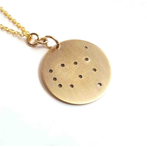 14K Gold Zodiac Necklace - Gemini