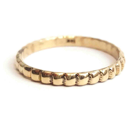 14K Solid Gold Beaded Stack Wedding Ring