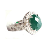 Green Agate Ring Wide CZ band