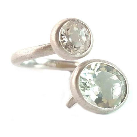Green Amethyst & White Quartz Ring