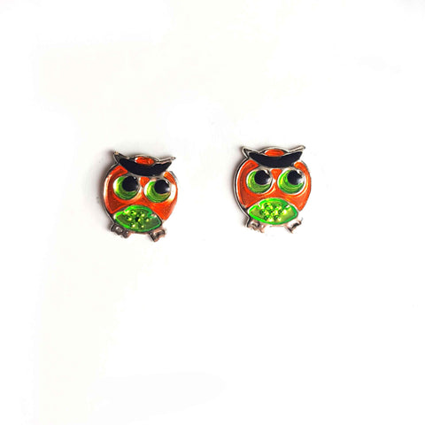 Green Eyed Owl Studs - Haggled Jewellery