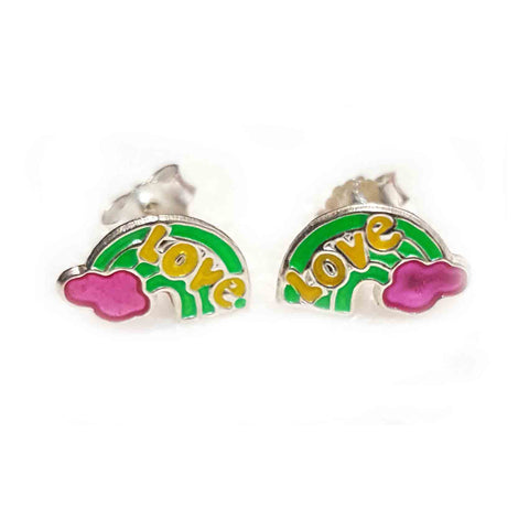Silver Rainbow Earrings - Green