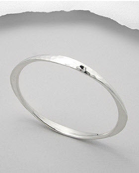 Hammered Silver Bangle - Haggled Jewellery