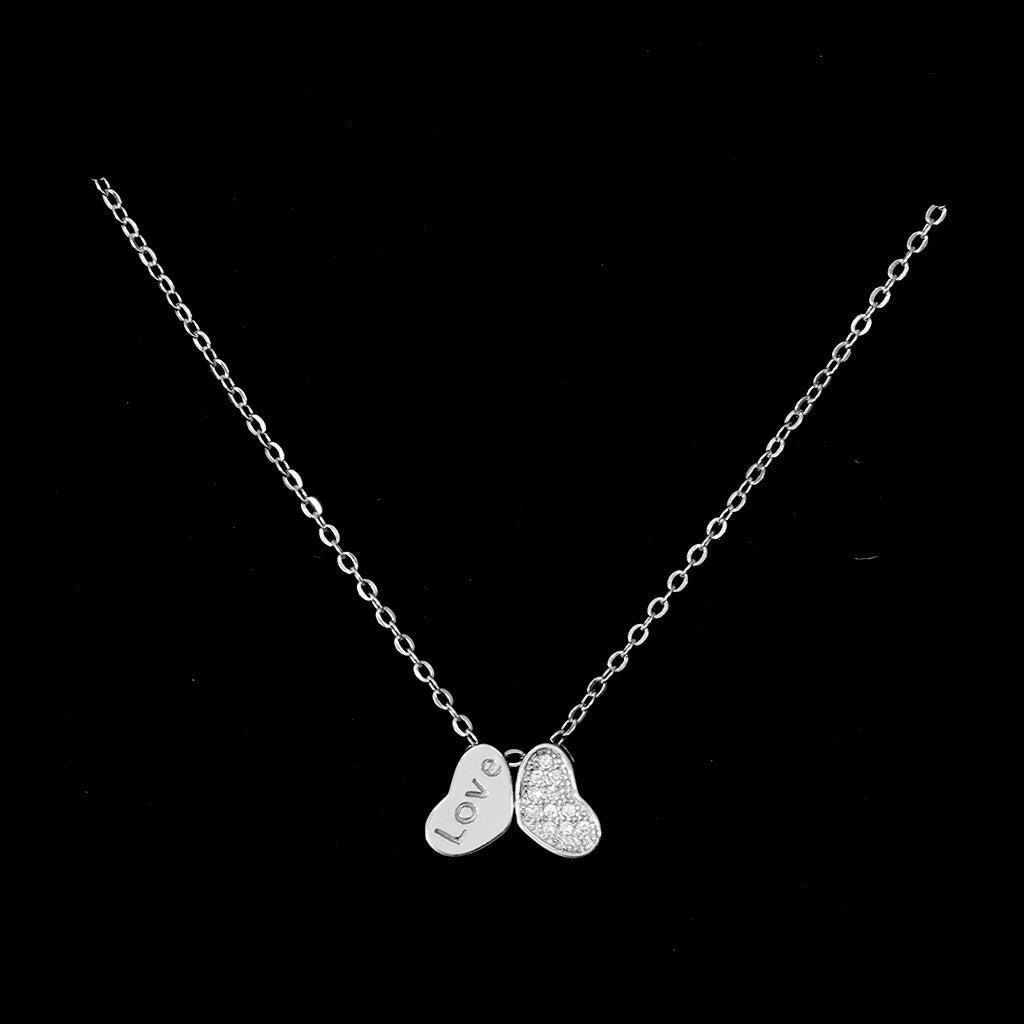 Silver Petite Two Hearts Necklace - Haggled Jewellery