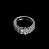 Petite Princess Cut Ring Set - Haggled Jewellery - 3