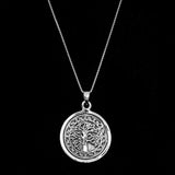 Sterling Silver Etched Tree Of Life Pendant - Haggled Jewellery
