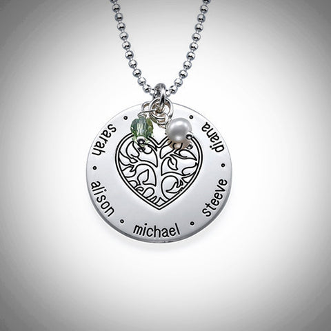 Silver Family Tree Heart Necklace