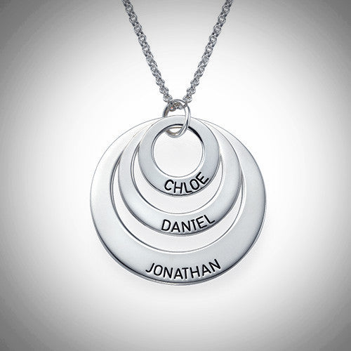Sterling Silver Three Discs Necklace