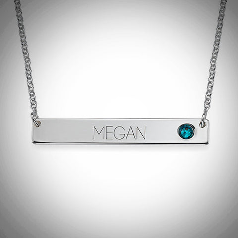 Sterling Silver Bar Necklace with Birthstone