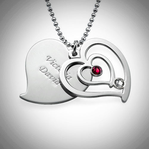 Couples Birthstone Heart Necklace