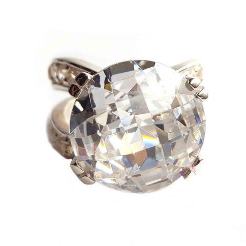 Large CZ Cocktail Ring - Haggled Jewellery - 1