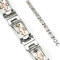 Coffee Gold Tribal Cross 316L Stainless Steel Bracelet - Haggled Jewellery
