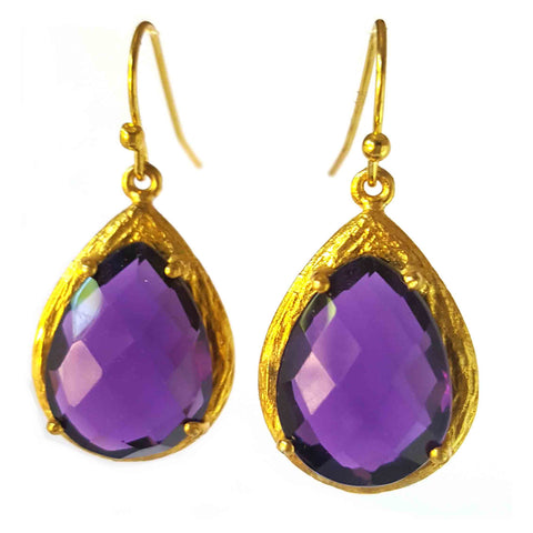18K Gold Plated Amethyst Tear Drops Dangle
