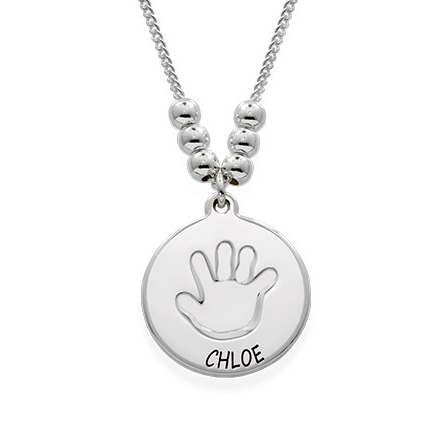 Baby Handprint One Disc Necklace