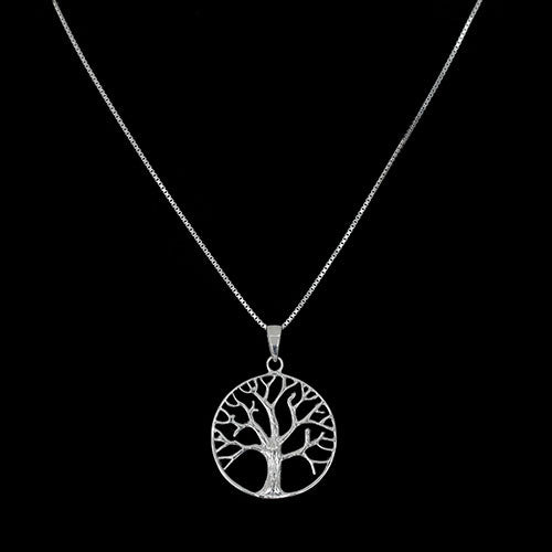 Sterling Silver Outline Tree of Life Pendant - Haggled Jewellery