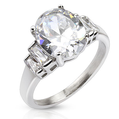 Oval CZ with Wings Steel Ring - Haggled Jewellery