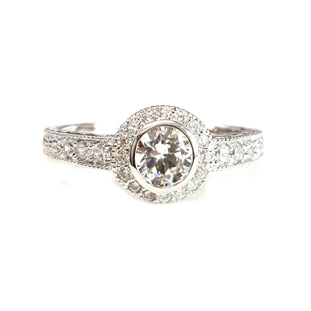Solitaire & Pave CZ Ring