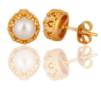 18K Gold Vermeil Pearl Crown Studs