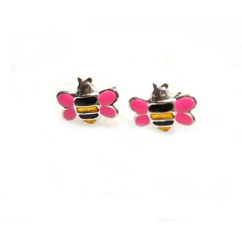 Sterling Silver Pink Bumble Bee Earrings